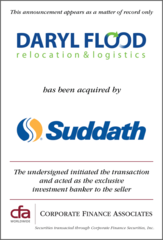 Corporate Finance Associates Worldwide Advises Daryl Flood Relocation and Logistics in Acquisition by Suddath