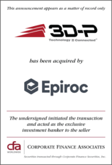Corporate Finance Associates Advises 3D-P  in Acquisition by  Epiroc