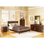 New Release - Monterey Wood Platform Bed - 5 Pc. Bedroom Set - Antique Walnut
