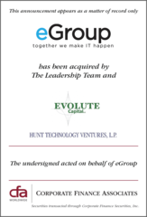 Corporate Finance Associates Advises eGroup in its Strategic Investment by Evolute Capital and Hunt Technology Ventures