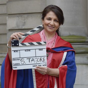 Sharmila Tagore accepting honorary doctorate for acting services in Bollywood.
