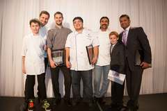 Chef Claudio Aprile with his son, Chef Bruce Woods, Chef Symon Abad, Chef Frank Parihzgar, Alexander Smith and Nitin Kawale