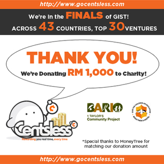 Centsless contributes RM1000 to the Bario Community Project to commemorate their entry into the global finals of the GIS…